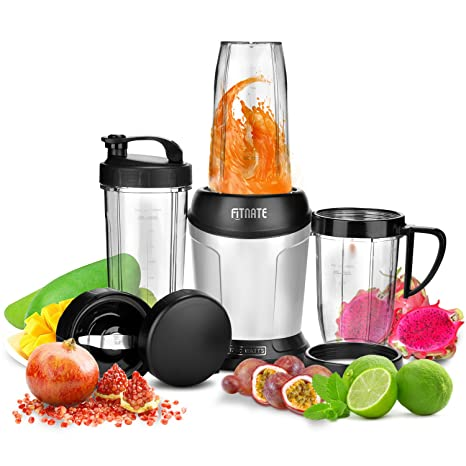 FITNATE 1200W Food Processor High-Speed Blender Fruit Mixer with 3 Cups and Extra Blades, Bonus Ebook Receipes 10Pcs Set