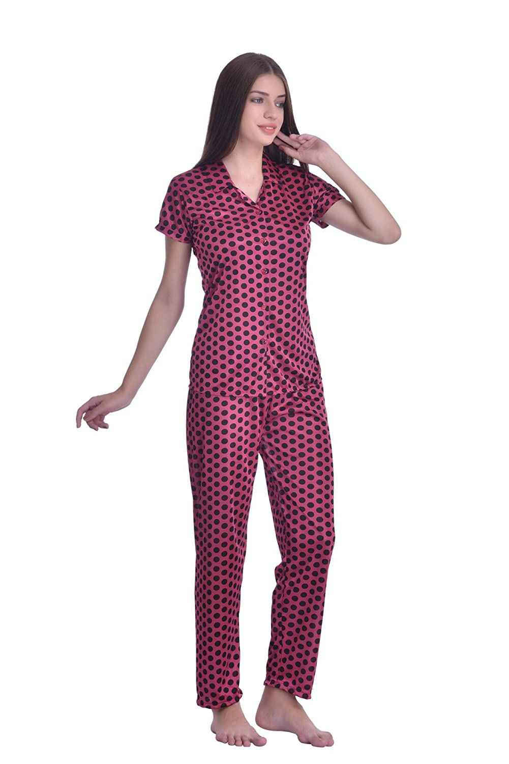 79a4a363f58 Adonia Women s Poly-knit Lycra Pink Polka Dot Shirt Night Suit  Amazon.in   Clothing   Accessories
