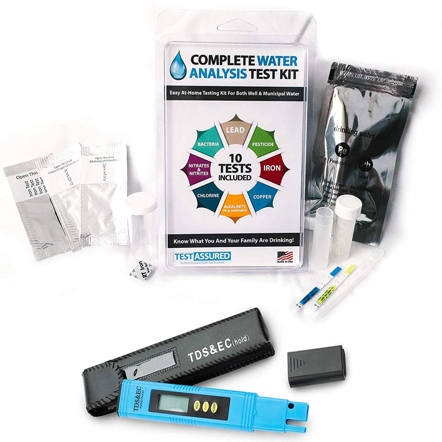 Test Assured Drinking Water Test Kit with Digital TDS Meter - Easy at-Home EPA Water Test Kit for 10 Water Contaminants and Total Dissolved Solids by Test Assured