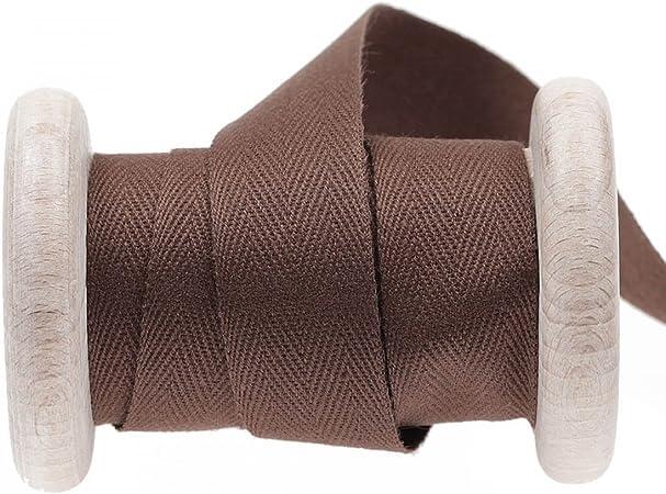 Cinta de algodón sarga, se vende por metros, color marrón, algodón, marrón, 11 mm: Amazon.es: Hogar