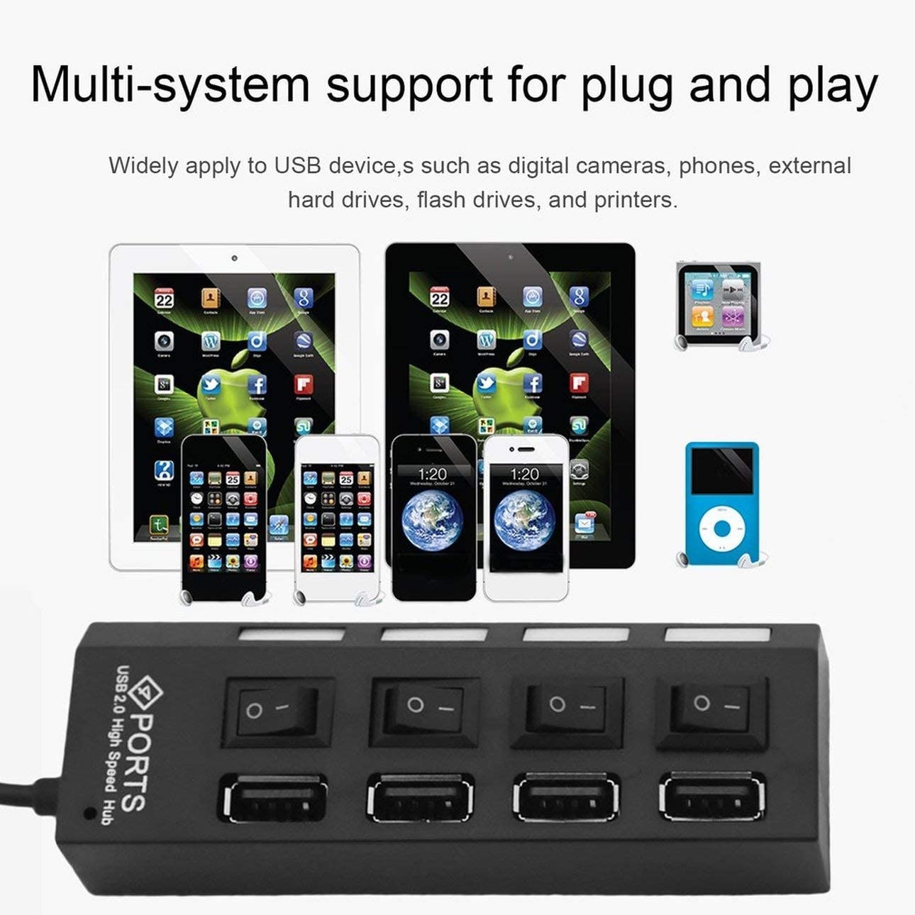Liobaba 4 Ports Multiple USB2.0 HUB Splitter Adapter High Speed for PC Laptop Computer Plug and Play with On//Off Switch