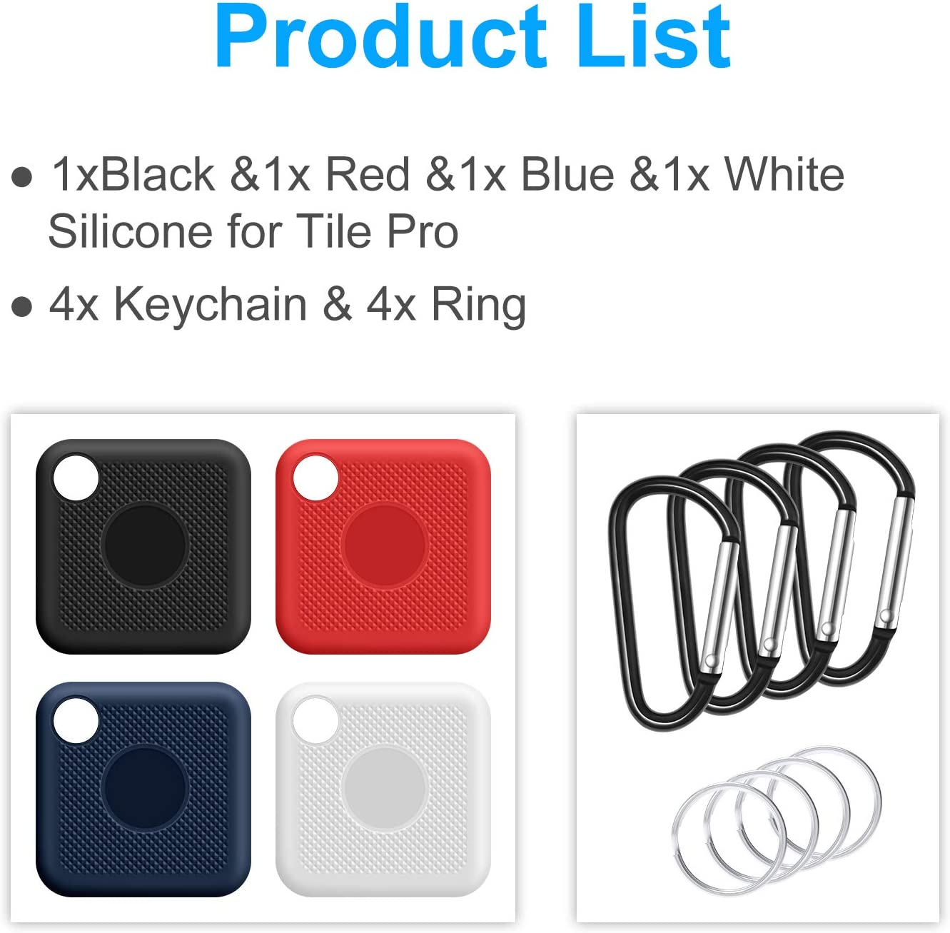 2020 /& 2018 White Black with Keychain 4 Pack Scratch//Shock Resistant Silicone Case Cover Blue Silicone Case Compatible with Tile Pro Red Full Body Protection