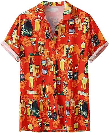 Zimuuuy - Camiseta Hawaiana para Hombre, Manga Corta, diseño de Botella de Cerveza Naranja Naranja L: Amazon.es: Ropa y accesorios