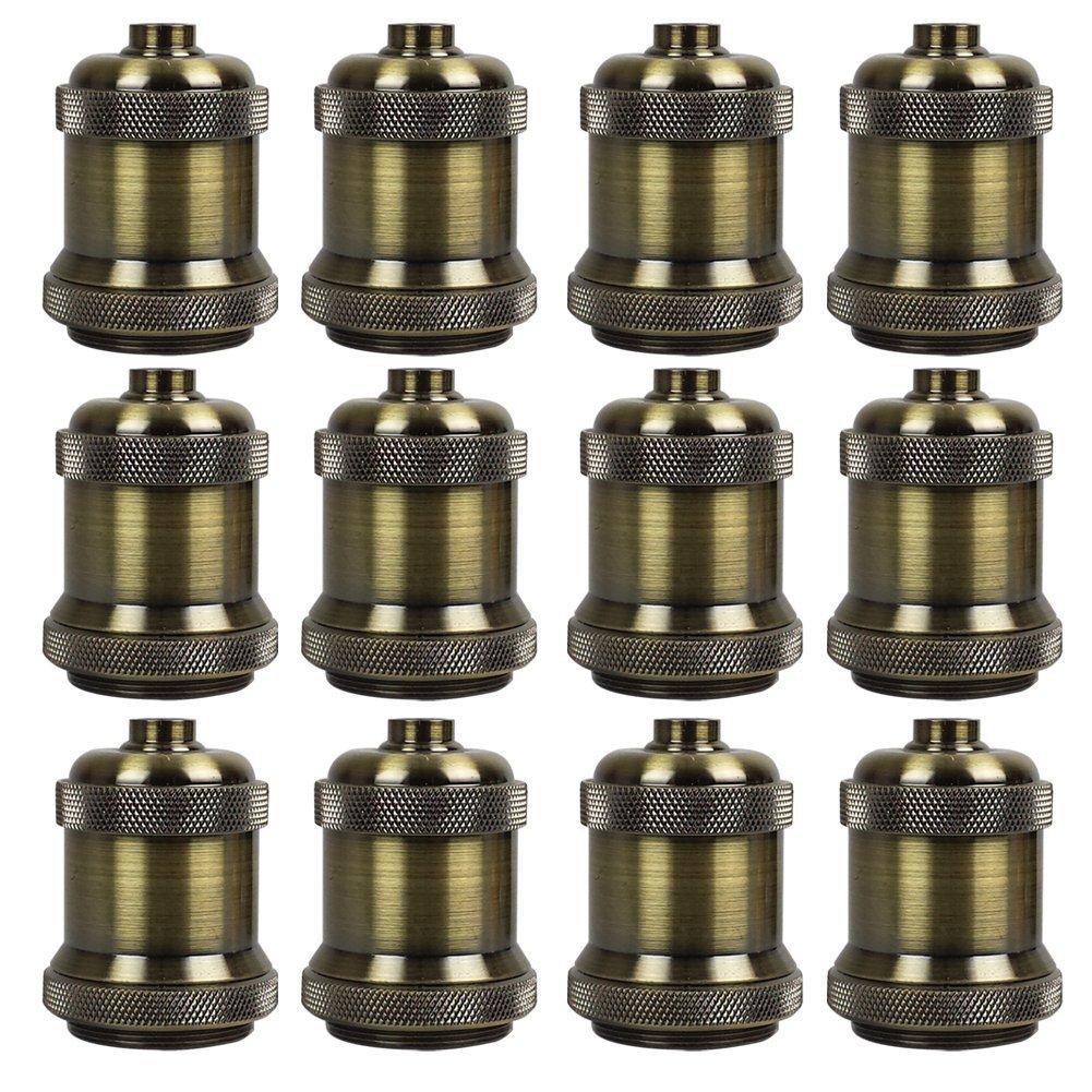 AAF Vintage Antique Bronze Screw Light Bulb Lamp Holder Edison E26 / E27, Pack Of 12