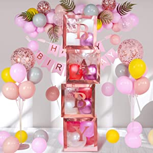 Termichy Baby Shower Boxes Party Decorations, 4 PCS Baby Shower Blocks Transparent with Letter for Girls Boys Birthday Neutral Gender Reveal Party, Color (Rose Gold)