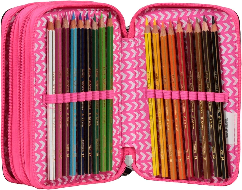 Attrezzato per la scuola: matite Astuccio 3 Zip YUB Murales Girl Nero penne/…