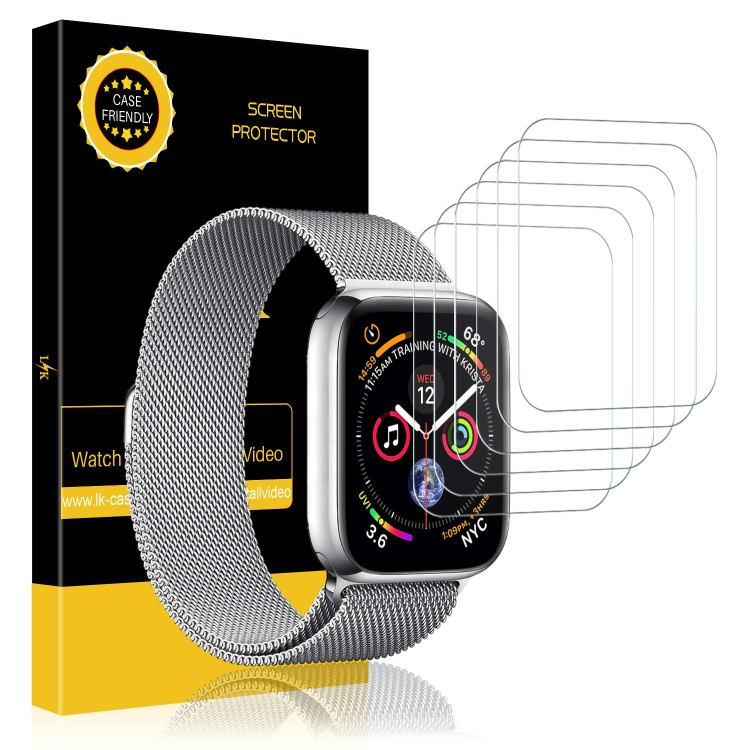 LK [6 Pack] Screen Protector for Apple Watch (42mm Series 3/2/1 44mm Series 4 Compatible), [Max Coverage] [Anti-Bubble] HD Clear with Lifetime Replacement Warranty
