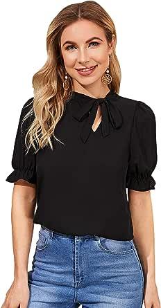 SheIn Women's Casual Bow Tie Neck Blouse Puff Sleeve Cutout Chiffon Shirt Top