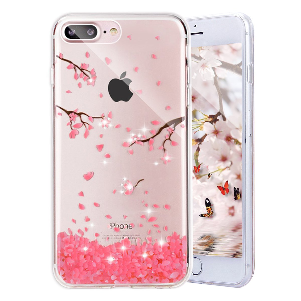 PHEZEN iPhone 8 Plus Case,iPhone 7 Plus Case, iPhone 7 Plus TPU Case Luxury Bling Diamond Crystal Clear Soft TPU Silicone Back Cover with Cute Pattern for 5.5 inch iPhone 7 Plus, Cherry Blossoms