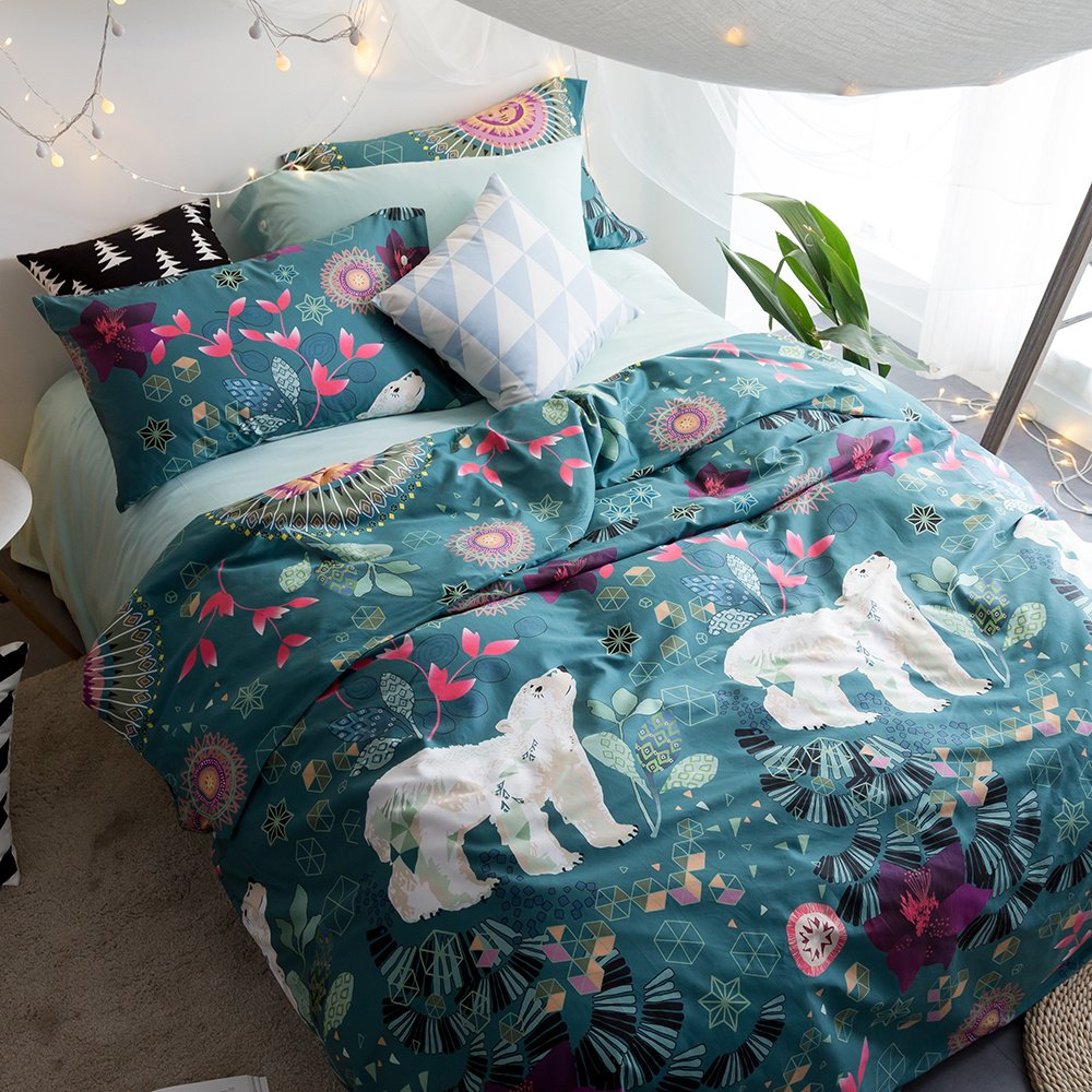 EnjoyBridal Floral Animals Bear Bedding Duvet Cover Sets Kids Queen Cotton Blue Teens Boys Girls Bedding Cover Sets 3 Pieces Reversible Use Comforter Cover(StyleA, Queen) by EnjoyBridal (Image #2)