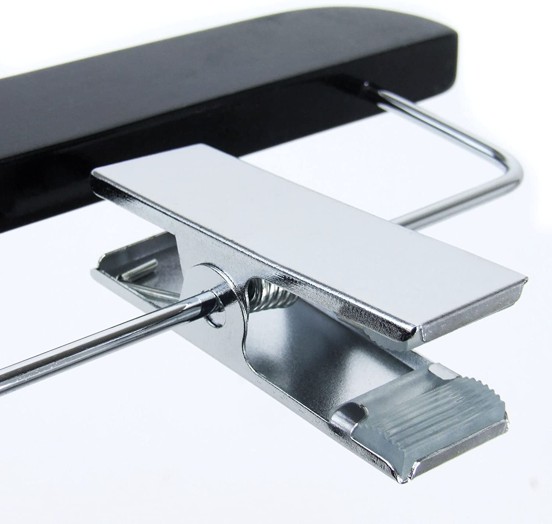 HANGERWORLD 5 Grucce in Legno Laccato Nero 36cm con Pinze in Metallo per Gonne e Pantaloni