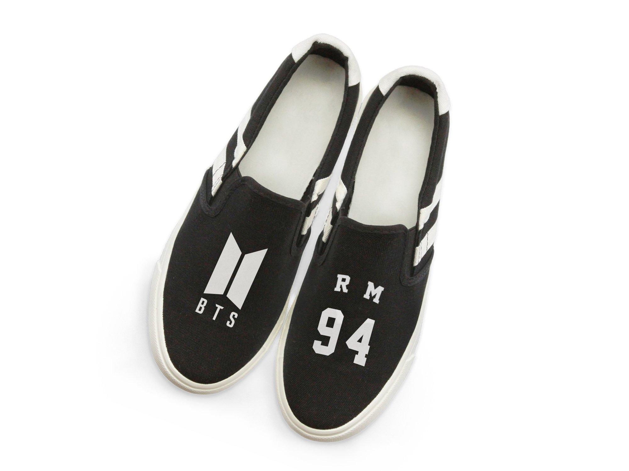 Fanstown BTS Kpop Sneakers Shoes Fanshion Memeber Hiphop Style Fan Support V Suga Junkkook with lomo Card (7.5, Rap Monster B)