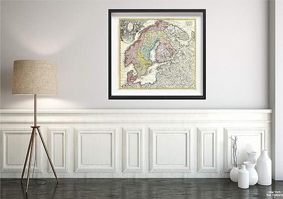 MAP ANTIQUE 1730 HOMANN SCANDINAVIA HISTORIC LARGE REPLICA POSTER PRINT PAM0194