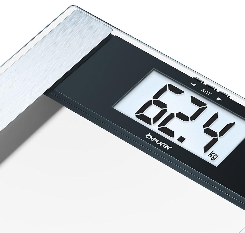 Beurer BG17 - Báscula de baño digital diagnóstica de cristal, pantalla LCD extragrande (40 mm), indicador gra sa y agua corporal, masa osea y ...
