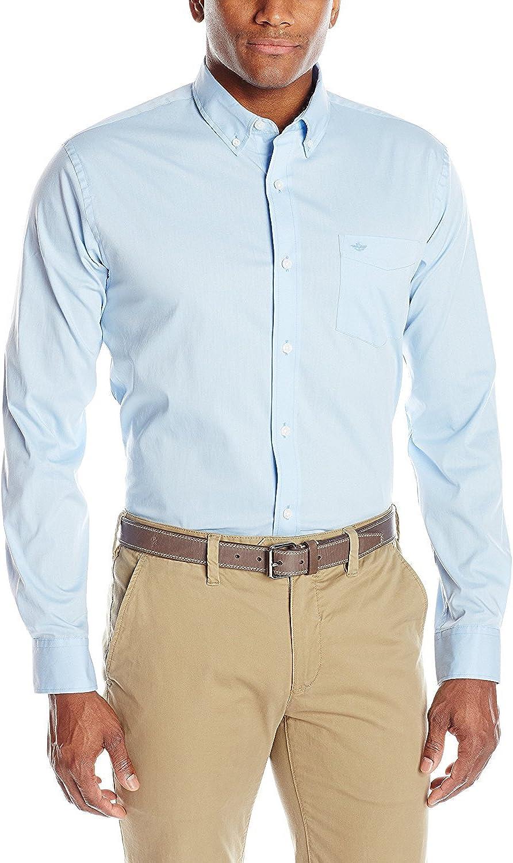 Dockers Pantalón Comfort Stretch manga larga sólido botón abajo camisa: Amazon.es: Ropa y accesorios