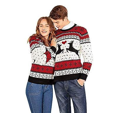 calidad brillante en brillo muchas opciones de Logobeing Jersey Navidad Suéter Feo para Dos Personas Suéter de Parejas de  Navidad Blusa Mangas Largas de Navidad Tops Chaquetas de Punto