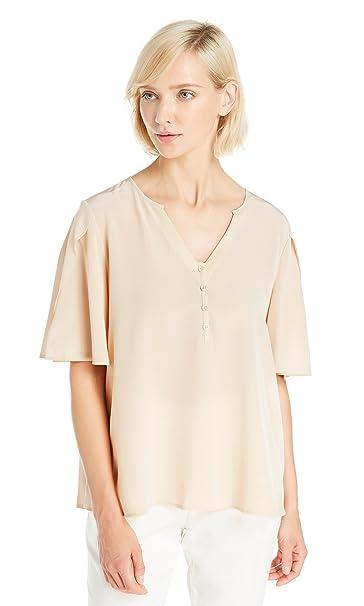 Lilysilk LILKSILK Blusa de Seda Mangas Cortas con Fracturas - Camisa de 100% Seda Natural
