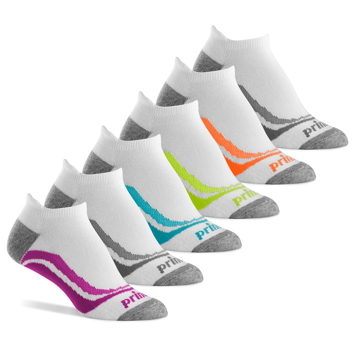 Prince Women's Tab Performance Athletic Socks for Running, Tennis, and Casual Use (6 Pair Pack) (Women's Shoe Size 8-12 (US), White)