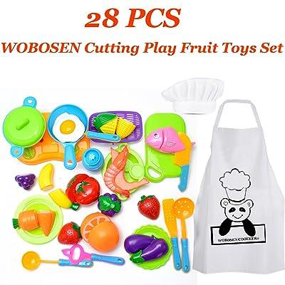 28 Piezas WoBoSen Cocina Juguete Niños Juguete Plástico de Corte de Vegetales de Fruta Juego de imaginación Juego de rol de Niños y Sombrero de Chef Delantal (Juguetes de cocina): Juguetes y juegos