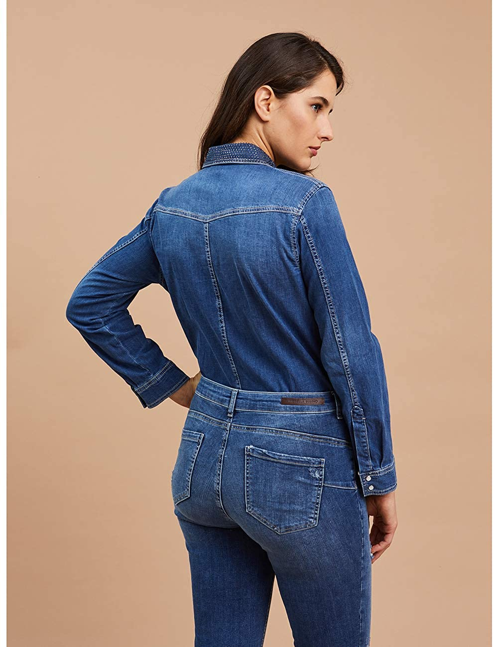 Camicia in Denim con Applicazioni Fiorella Rubino Italian Plus Size