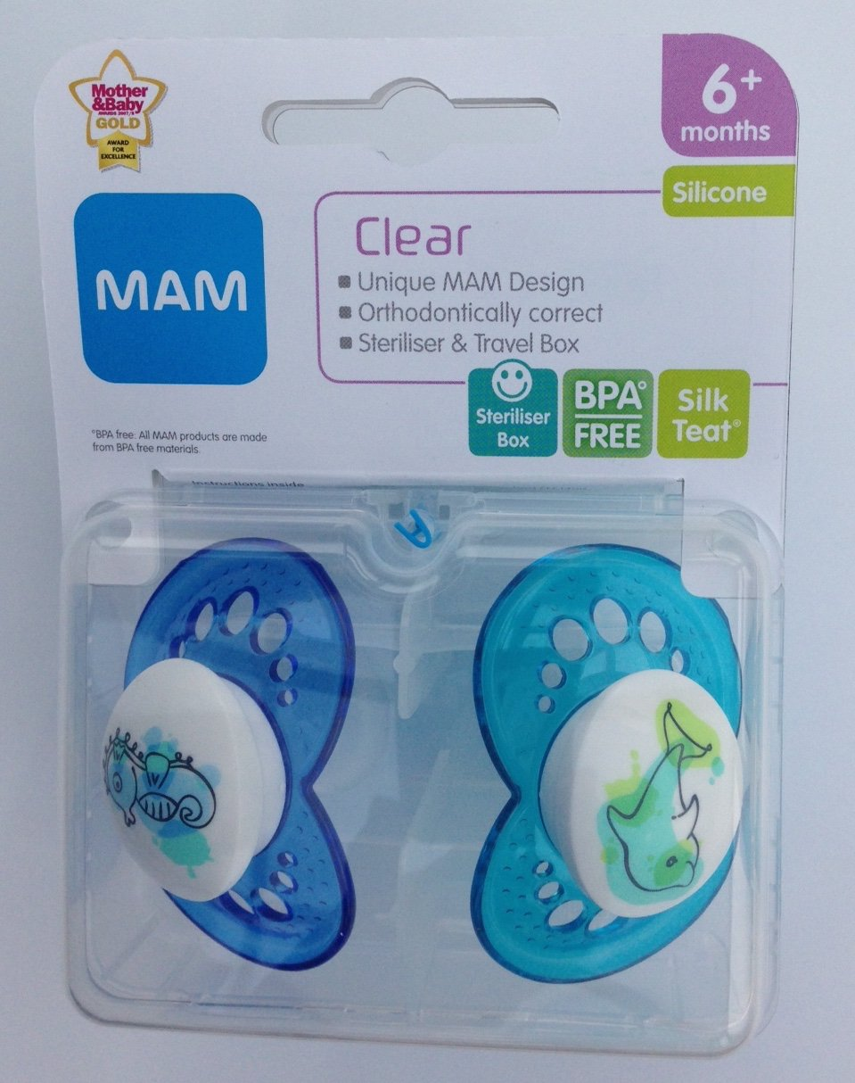 Amazon.com : Mam Clear Soother Twin Pack 6m+ (Seahorse ...