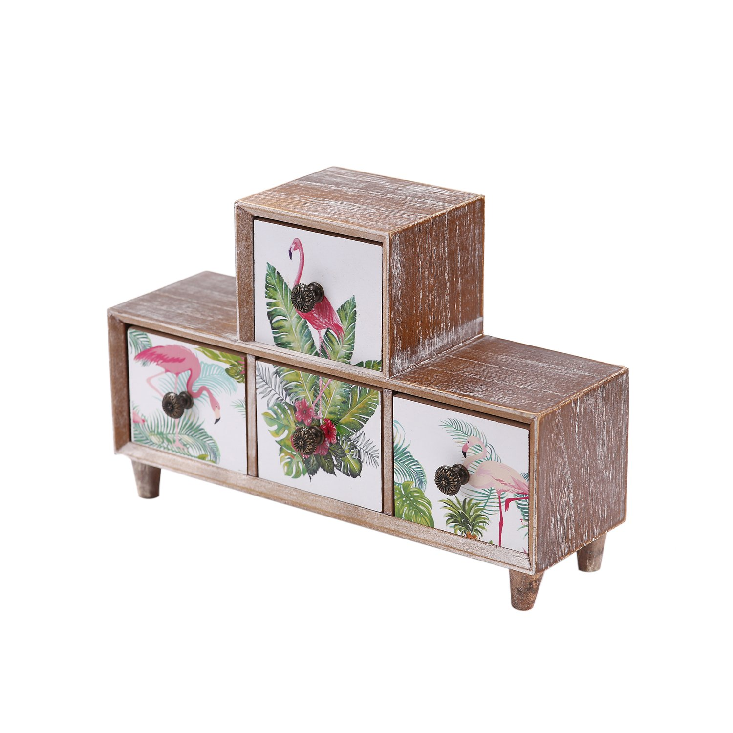 Flamingos Chest of Drawers,4 Drawer Wooden Mini Desk Storage Decorative Jewellery Box Storage Cabinet Vintage Shabby Chic Style for Home and Office,11.8(L) x 3.54(W) x 7.87(H) inch Fayre Ware KT818