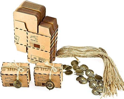 Foonii Set de 50 Cajas para dulces bombones Caja kraft de boda regalo Rústico,novio y de la novia Candy Caja Papel Boda Regalos Cajas de caramelo de Fiesta envoltorio: Amazon.es: Hogar