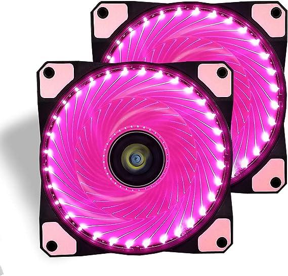 conisy Ventilador de PC, 120 mm LED Gaming Ultra Silencioso Ventiladores para Caja de Ordenador (Doble Rosa): Amazon.es: Electrónica
