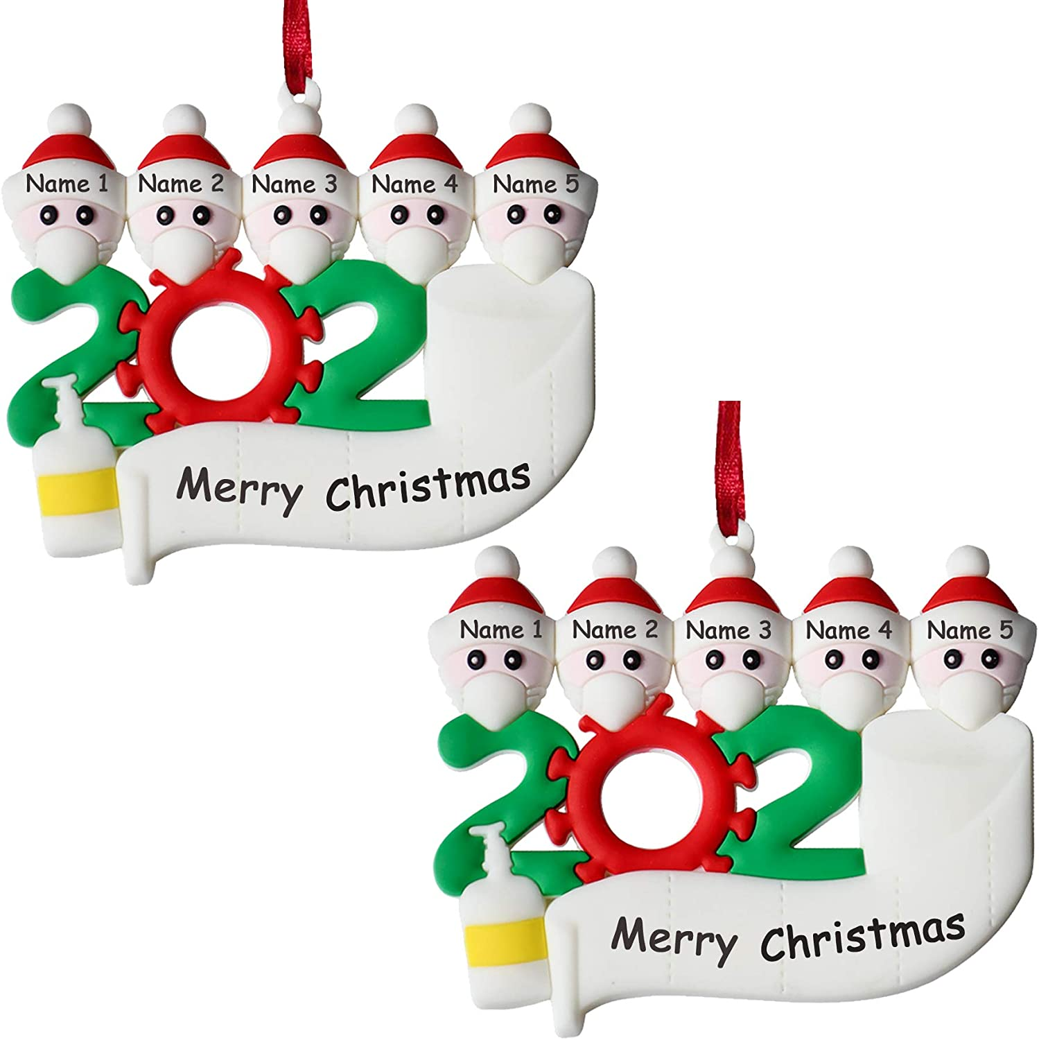 sunkoon 2020 Christmas Ornament 2PACK Personalized Decorative Hanging Ornaments Quarantine Survivor Family of 5 Customized Decorating Gifts with Mask Creative Name Blessing DIY Non-breakable