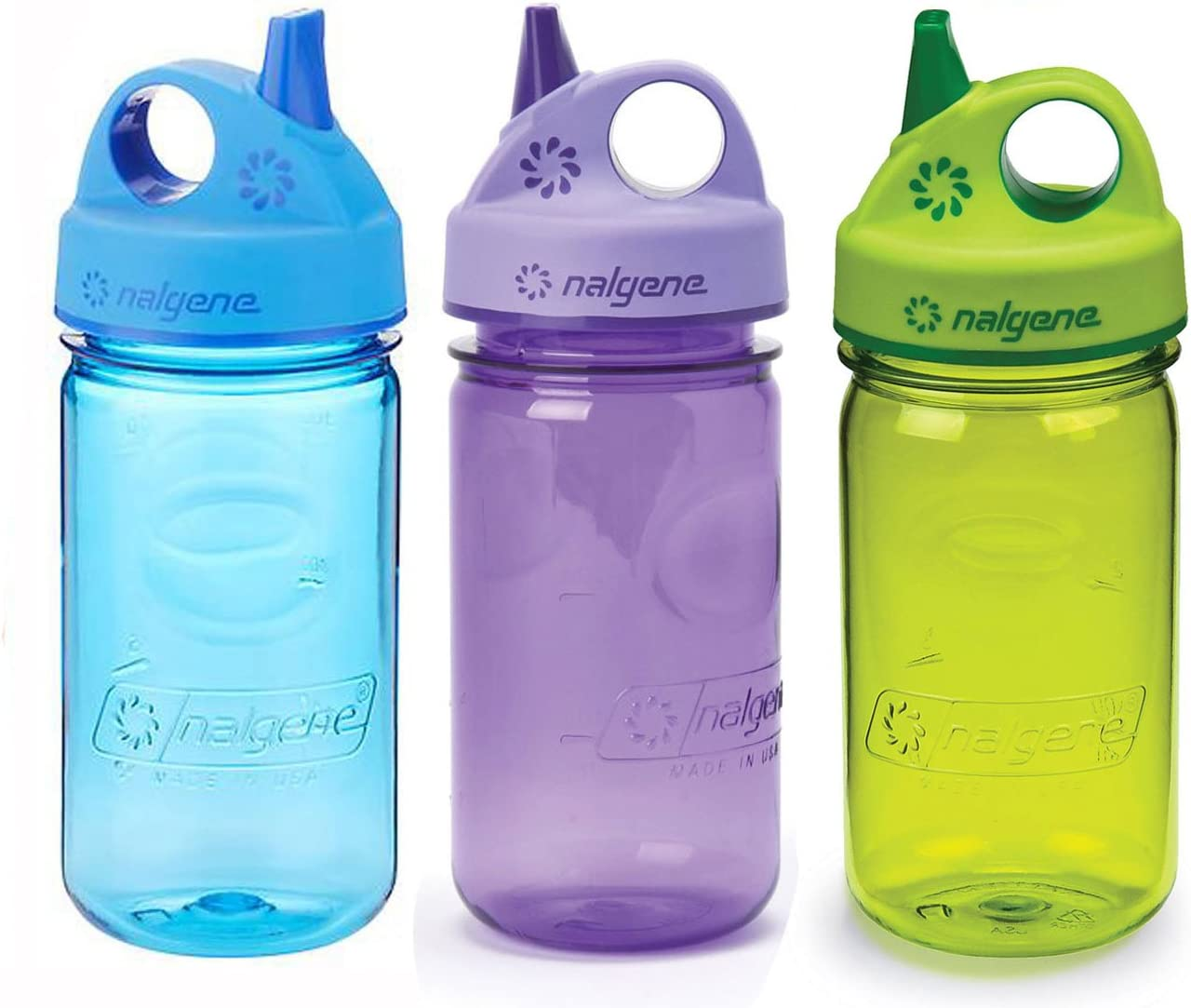 Nalgene Kids Grip-n-Gulp 12oz. Water Bottles, 3 Bottle Bundle Pack