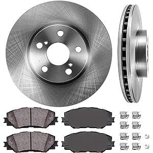 Max Brakes Front Premium Brake Kit Fits: 2012 12 Toyota Matrix 1.8L Models OE Series Rotors + Ceramic Pads KT044541