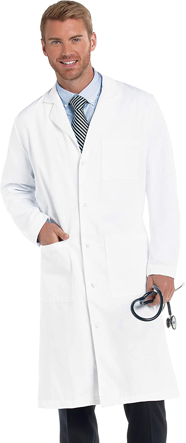 Landau Men's 3-Pocket, Classic Relaxed Fit, 5-Button, Full-Length, Cotton Twill Lab Coat 3138: Medical Lab Coats: Clothing