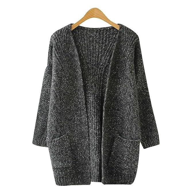 3428bd66fc6281 HEYFAIR Women s Loose Twist Pockets School Wear Knitted Sweater Cardigan  Outwear (Black) at Amazon Women s Clothing store