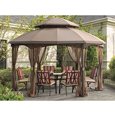 Sunjoy 110109164 Original Replacement Canopy for Heritage Hexagon Domed Gazebo (13X13 Ft) L-GZ793PST-E Sold at BigLots, Khaki : Garden & Outdoor