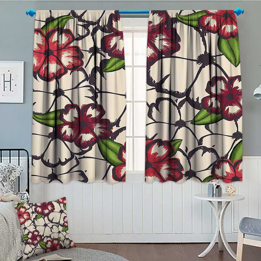 """Floral Blackout Window Curtain Nature Flowers with Leaves Sketchy like Vector Image Artwork Customized Curtains 52""""x63"""" Light Pink Burgundy and Salmon"""