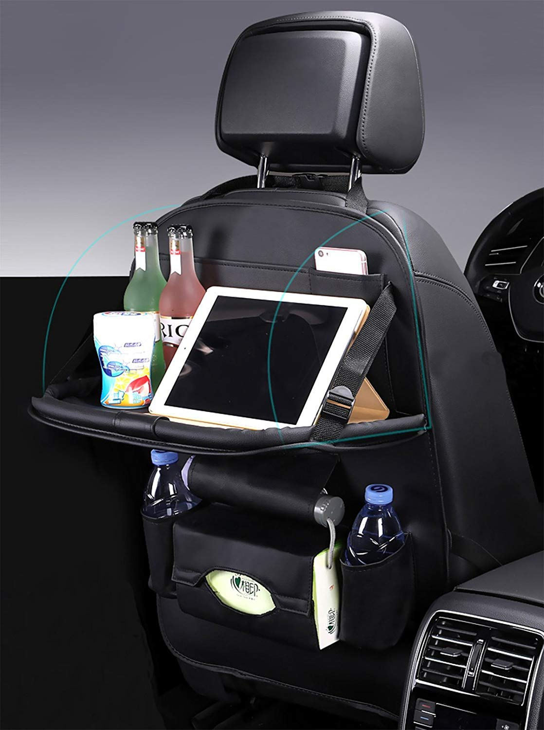 xrime Car seatback Organizer and Protector with Table Tray and iPad Holder High/quality PU Leather Automobile Seat Organizer with Foldable Dining Table Tissue Box and Water Bottle Holder Great Travel Accessory for Kids brown*1