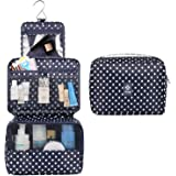 Hanging Travel Toiletry Bag Cosmetic Make up Organizer for Women and Girls Waterproof (C-Polka dot)