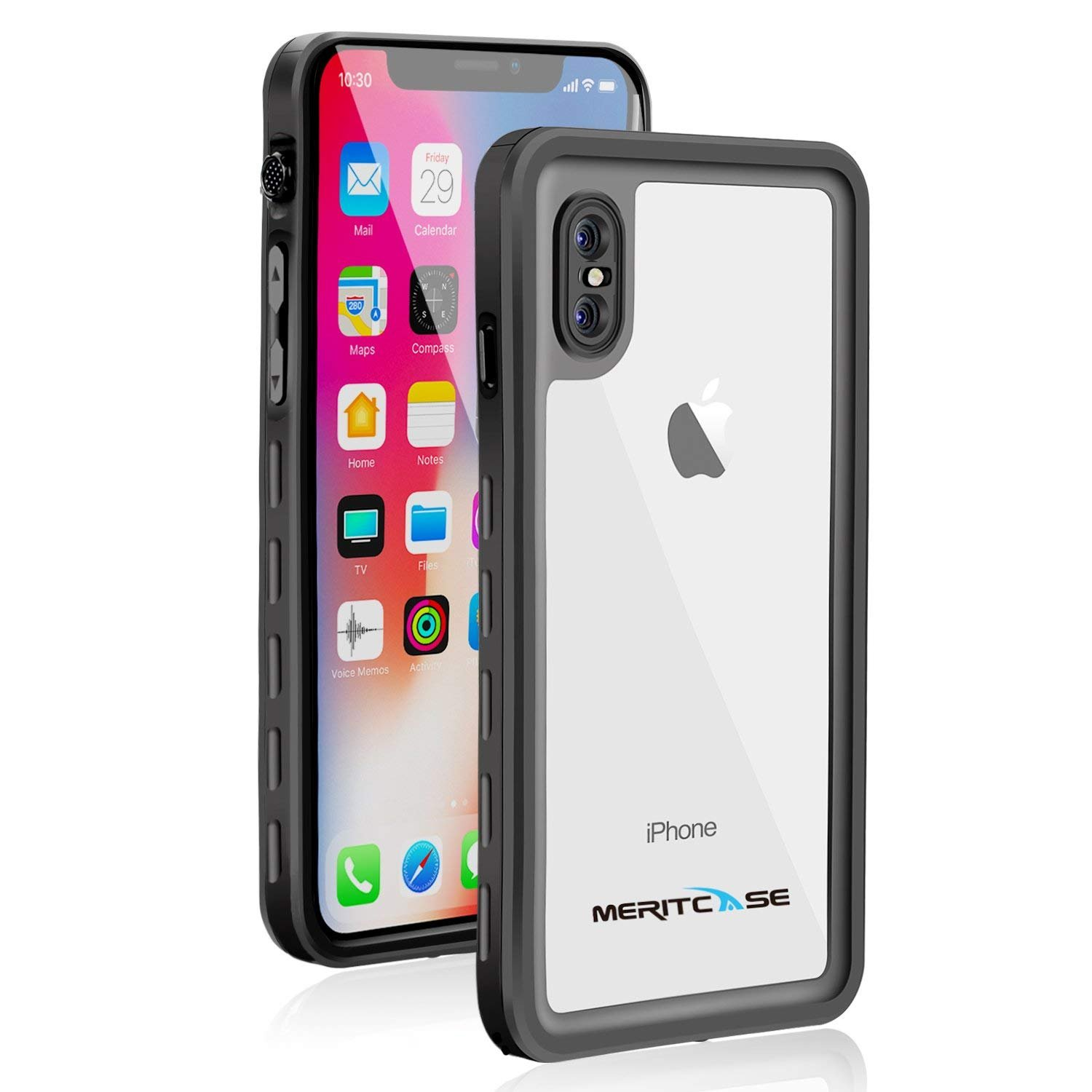 wholesale dealer 9a965 8563d Waterproof Case for iPhone X/iPhone Xs, Meritcase IP 68 Waterproof iPhone X  Case Dustproof Shockproof iPhone Xs Waterproof Case with Kickstand for ...