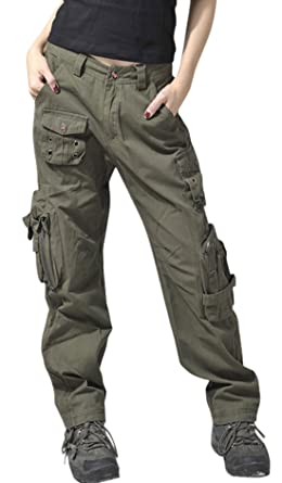 4d84013fbda9e chouyatou Women s Active Loose Fit Military Multi-Pockets Wild Cargo Pants  (X-Small