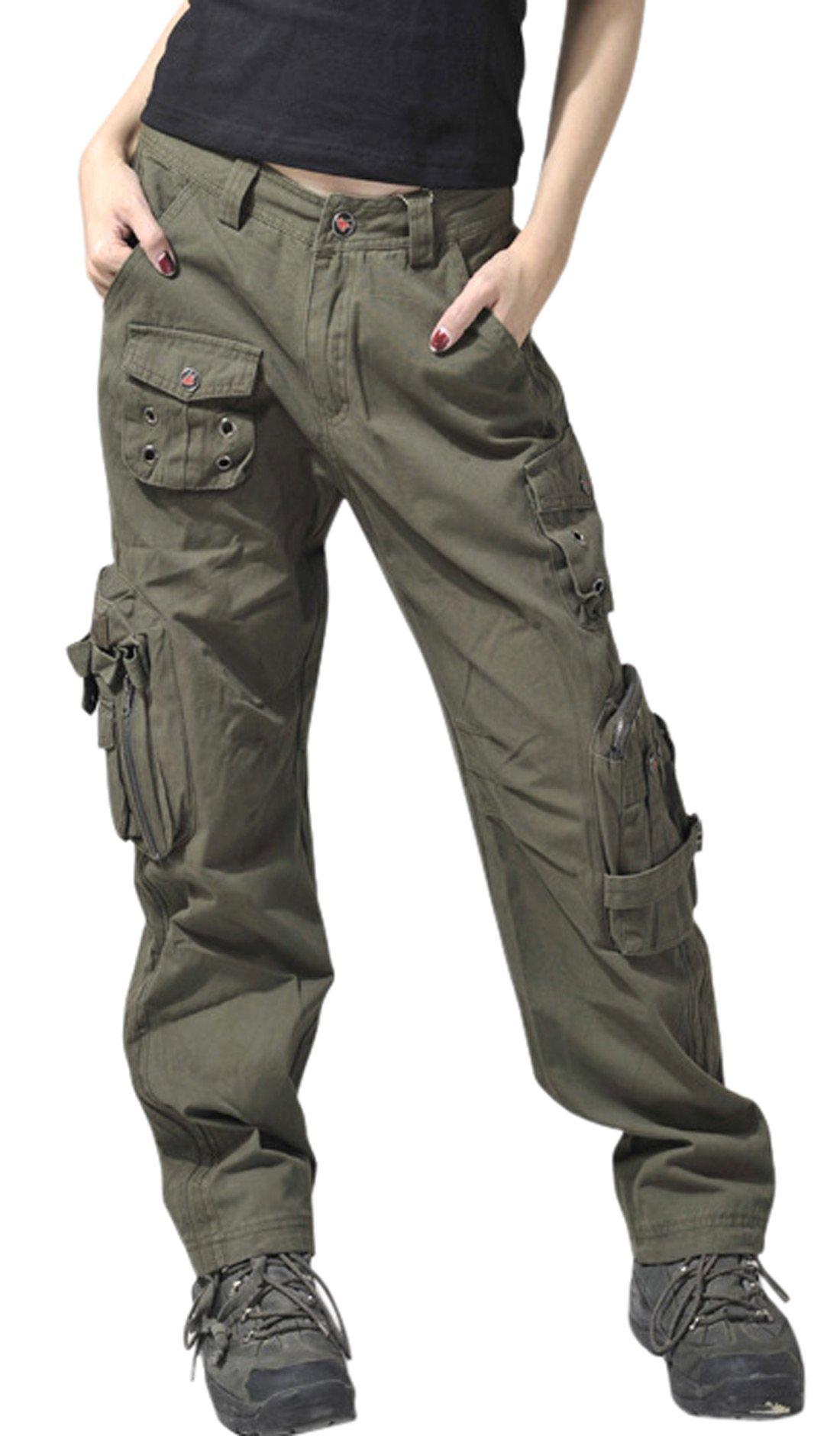 Chouyatou Women's Active Loose Fit Military Multi-Pockets Wild Cargo Pants (Medium, Army)