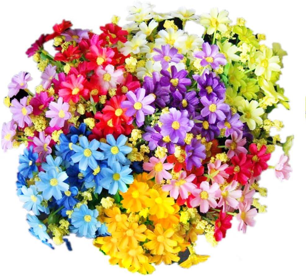 Margaritas Artificiales Decoracion, realista falso hermoso blanco margarita, rosa púrpura, amarillo, azul para la boda casera Decoración de jardín 5 manojos (Blanco, rosa, púrpura, amarillo, azul)