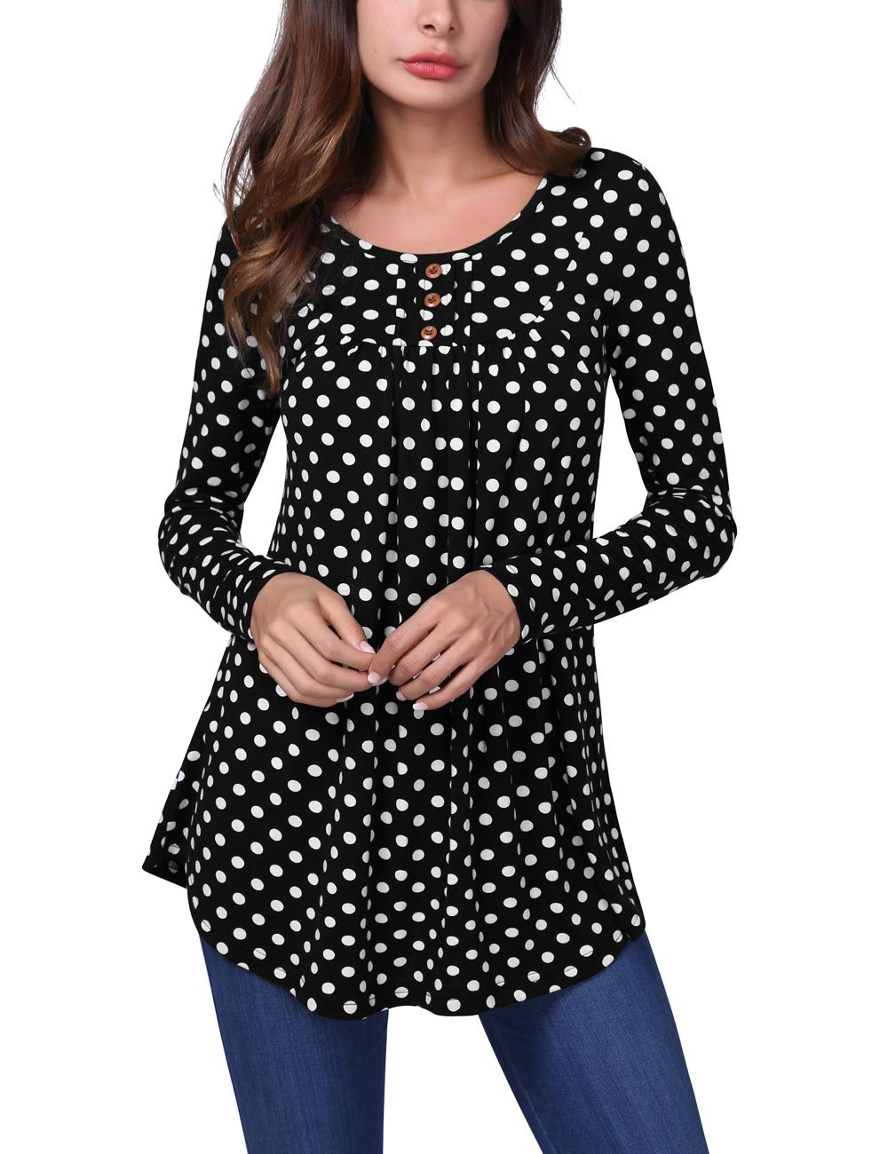 BaiShengGT Long Sleeve T Shirts Tunic Tops, Women's Crewneck Long Sleeve Floral Shirts Flared Casual Tunic Tops X-Large Black Polka Dot