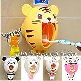 BigNoseDeer baby Toothbrush Dispensers ,kids Hands Free Toothpaste Dispenser children Automatic Cartoon Cute Animal Toothpaste Squeezer Good Gift for Children (Tiger)