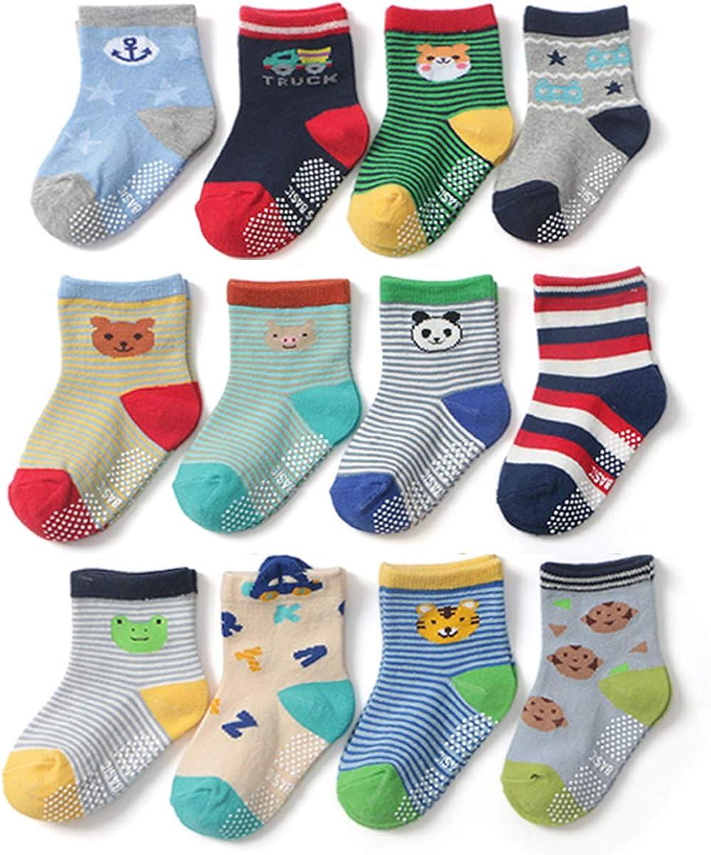 Yafane 12 Pares de Calcetines Antideslizantes para Niños Pequeños Algodón Lindo con Puños Calcetines Antideslizantes para Bebés