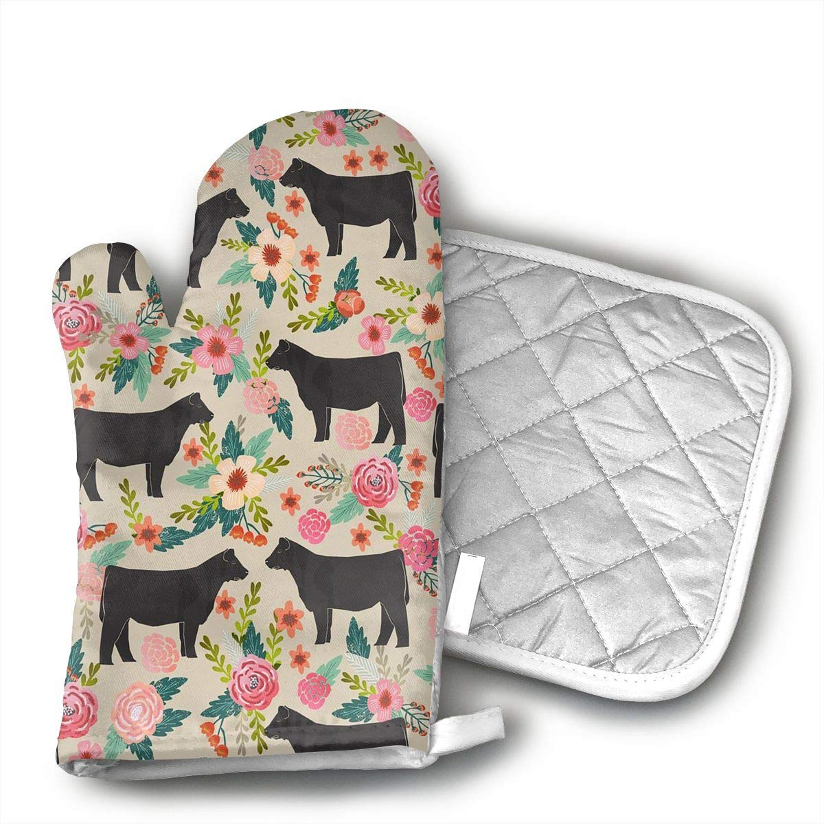 HEPKL Oven Mitts and Potholders Show Steer Cows Farm Barn Non-Slip Grip Heat Resistant Oven Gloves BBQ Cooking Baking Grilling