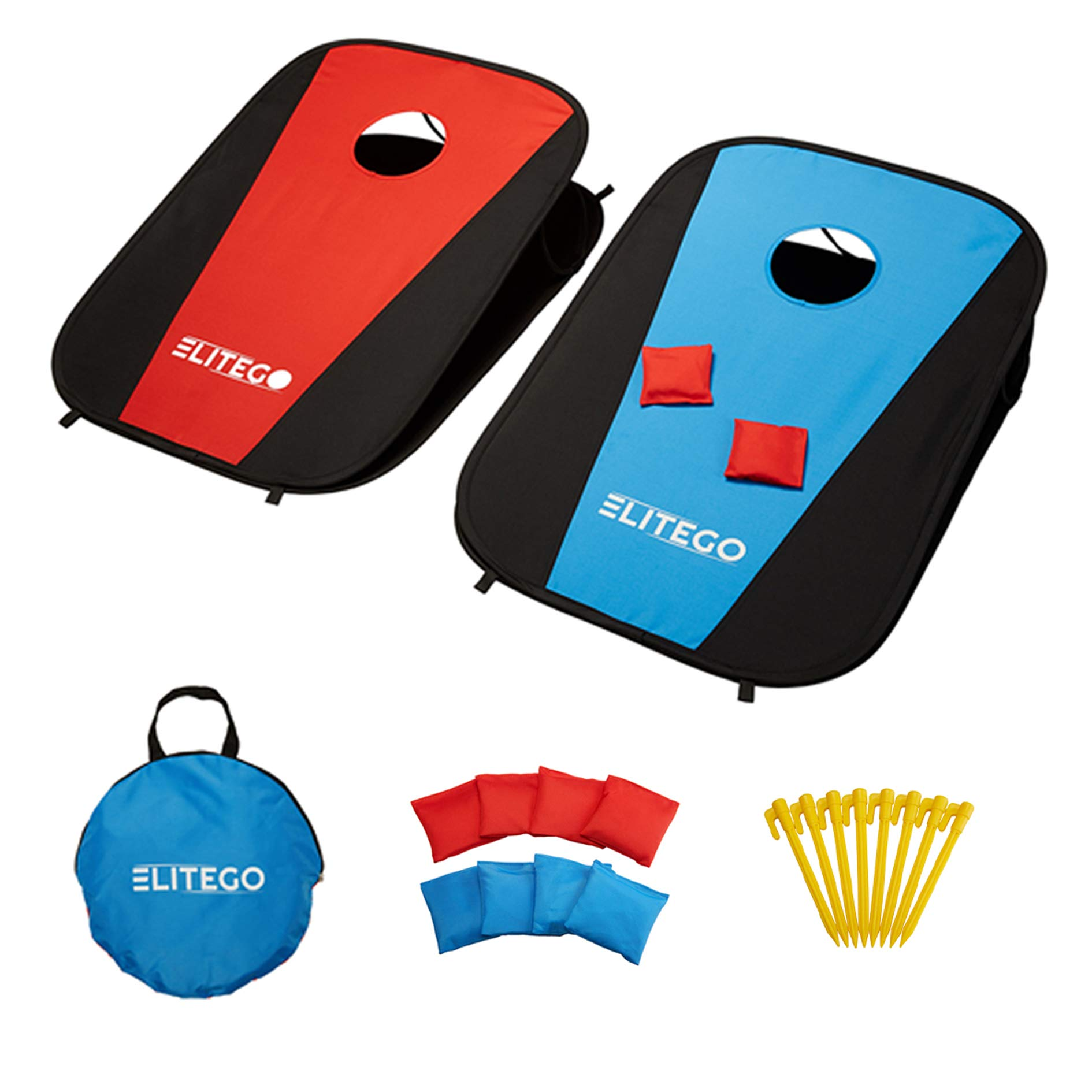 EliteGo Collapsible Portable Cornhole Boards Game Set with 8 Cornhole Bean Bags - (3 x 2 feet) (Red/Blue) by EliteGo