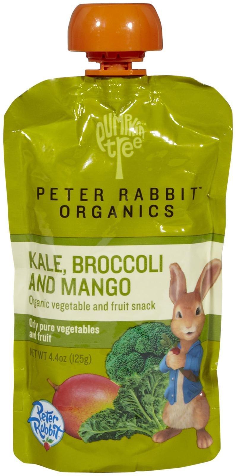 Peter Rabbit Organics - Organic Veg and Fruit Puree 100% Kale, Broccoli and Mango - 4.4 oz. pack of 3 by Peter Rabbit Organics