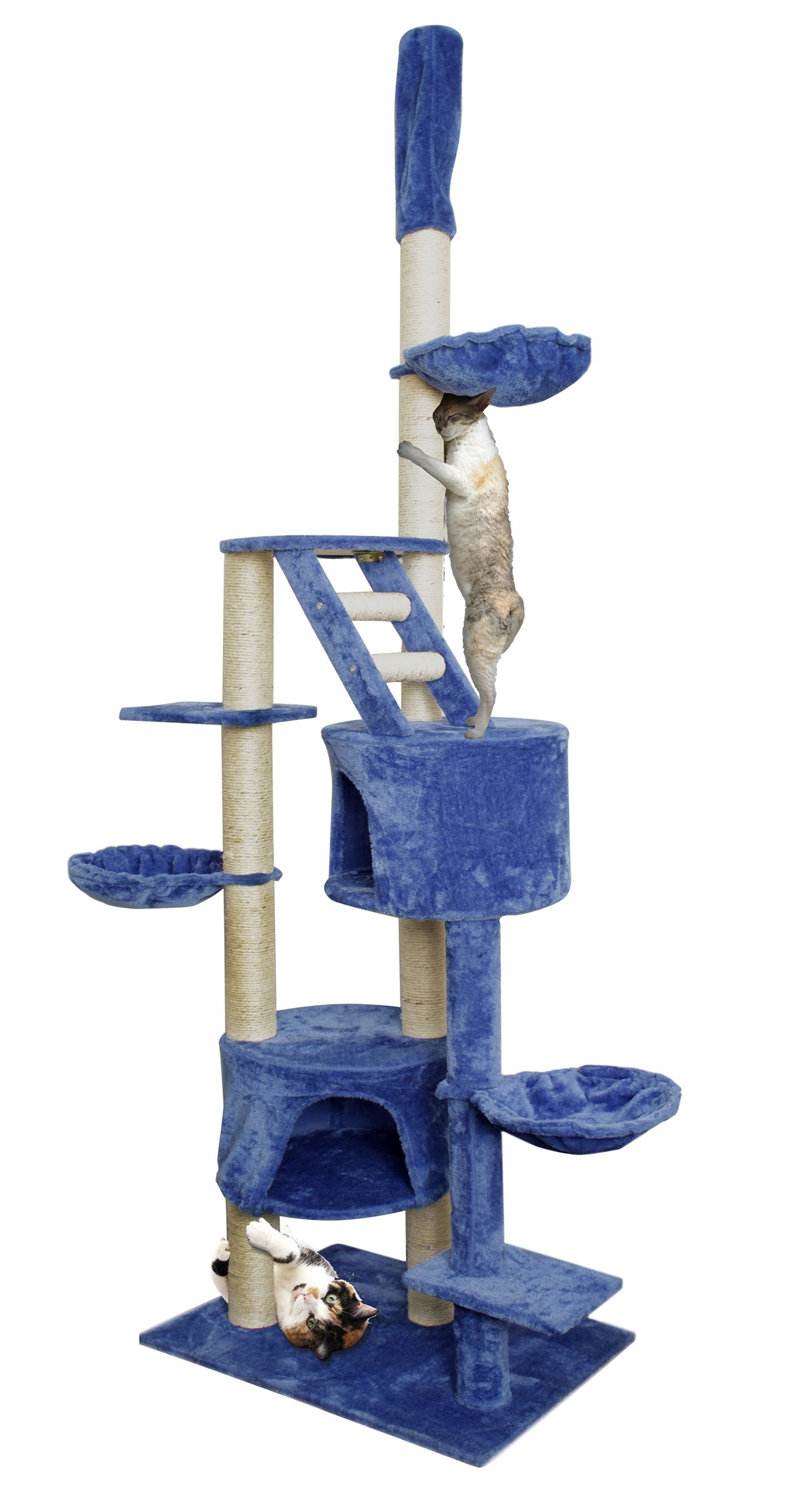 Paws & Pals 28x20x101 Cat Tree House w/Scartching Post Towers, Hammock Beds, Pet Toy Balls, Multi Level, 11 Level Condo w/Tunnels & Stairs - Blue & White