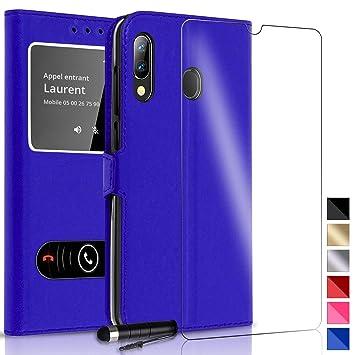 Funda Carcasa Azul con Ventanas para Samsung Galaxy A40 + Protector Cristal Templado + Làpiz