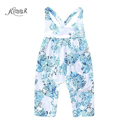 d44604b3b6 KIDSA 0-24M Baby Girl Summer Clothes One-piece Blue Floral Tank Tops Romper